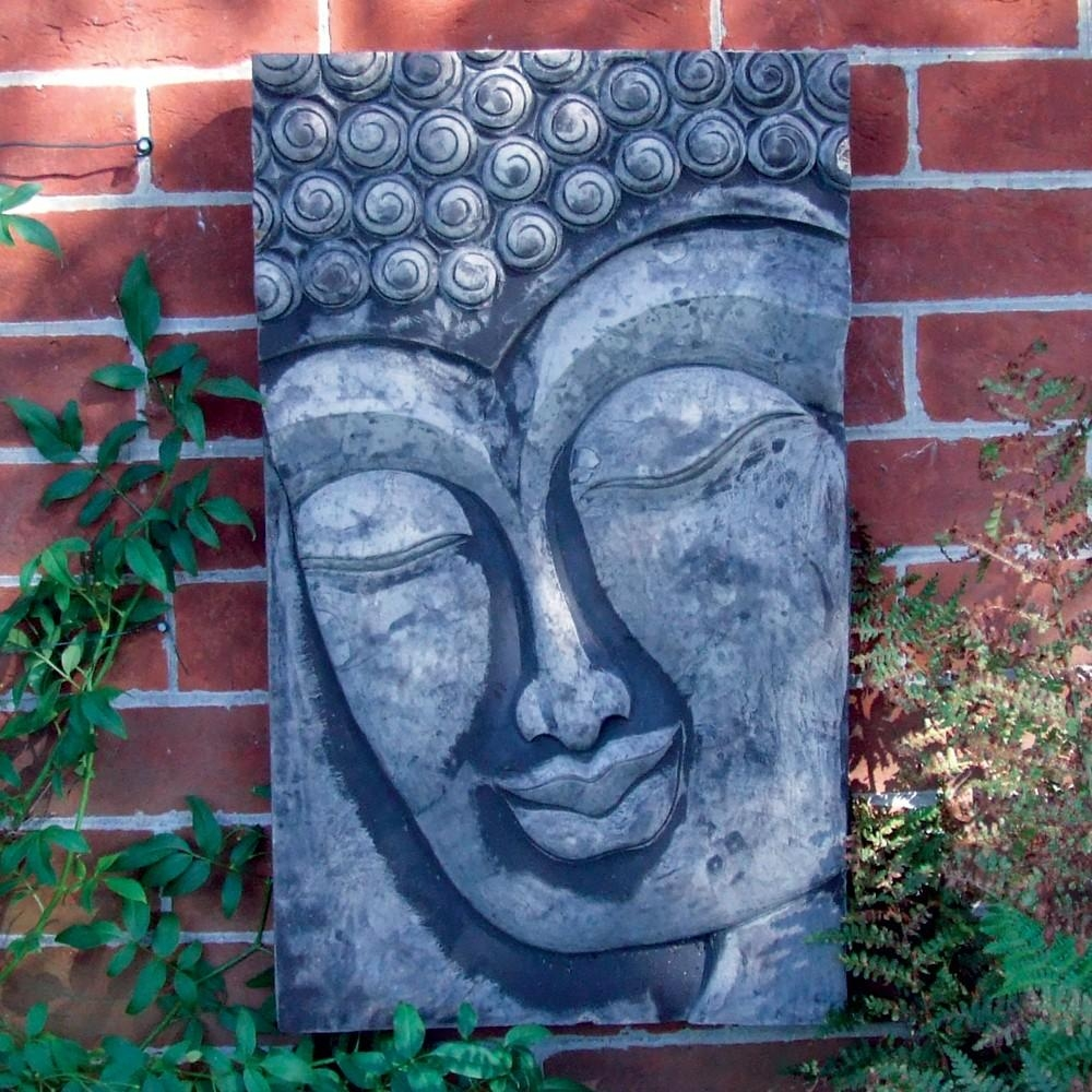 Stone Enlightened Buddha Head Wall Plaque Garden Art | S&s Shop Pertaining To Buddha Outdoor Wall Art (Photo 1 of 20)