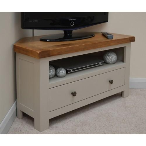 Stone Grey Oak Corner Tv Stand / Entertainment Unit For Most Recent Painted Corner Tv Cabinets (Image 19 of 20)