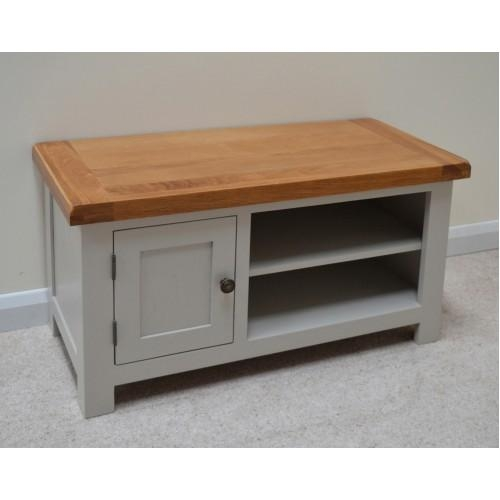 Stone Grey Painted Oak Tv Stand / Entertainment Unit Inside Newest Grey Wood Tv Stands (Image 20 of 20)