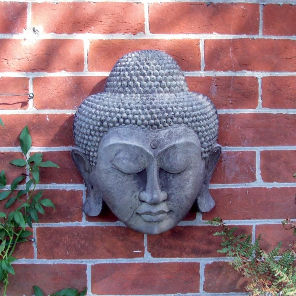 Stone Thai Buddha Head Wall Plaque Garden Art | S&s Shop Within Buddha Outdoor Wall Art (Image 17 of 20)