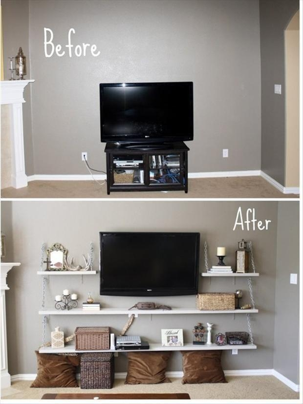 Storage Solutions For Small Bedrooms | Wall Mount, Shelves And Chains In Most Recently Released Console Under Wall Mounted Tv (View 18 of 20)