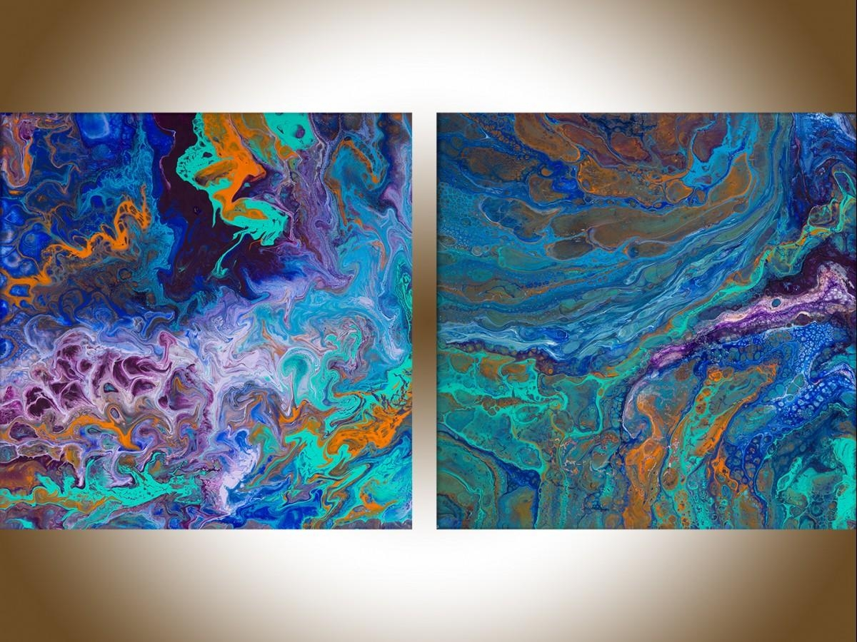 """Streamqiqigallery 20"""" X 10"""" Set Of 2 Wall Art Colourful Within Orange And Blue Wall Art (Image 15 of 20)"""