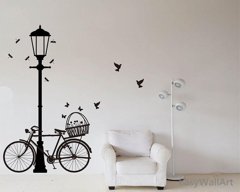 Street Lamp And Bicycle Wall Decal Bike Wall Sticker Vinyl Pertaining To Street Wall Art Decals (View 8 of 20)