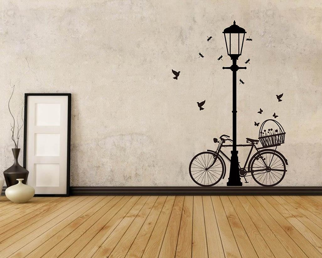 Street Lamp Bicycle Vinyl Decals Modern Wall Art Sticker Regarding Street Wall Art Decals (Image 15 of 20)