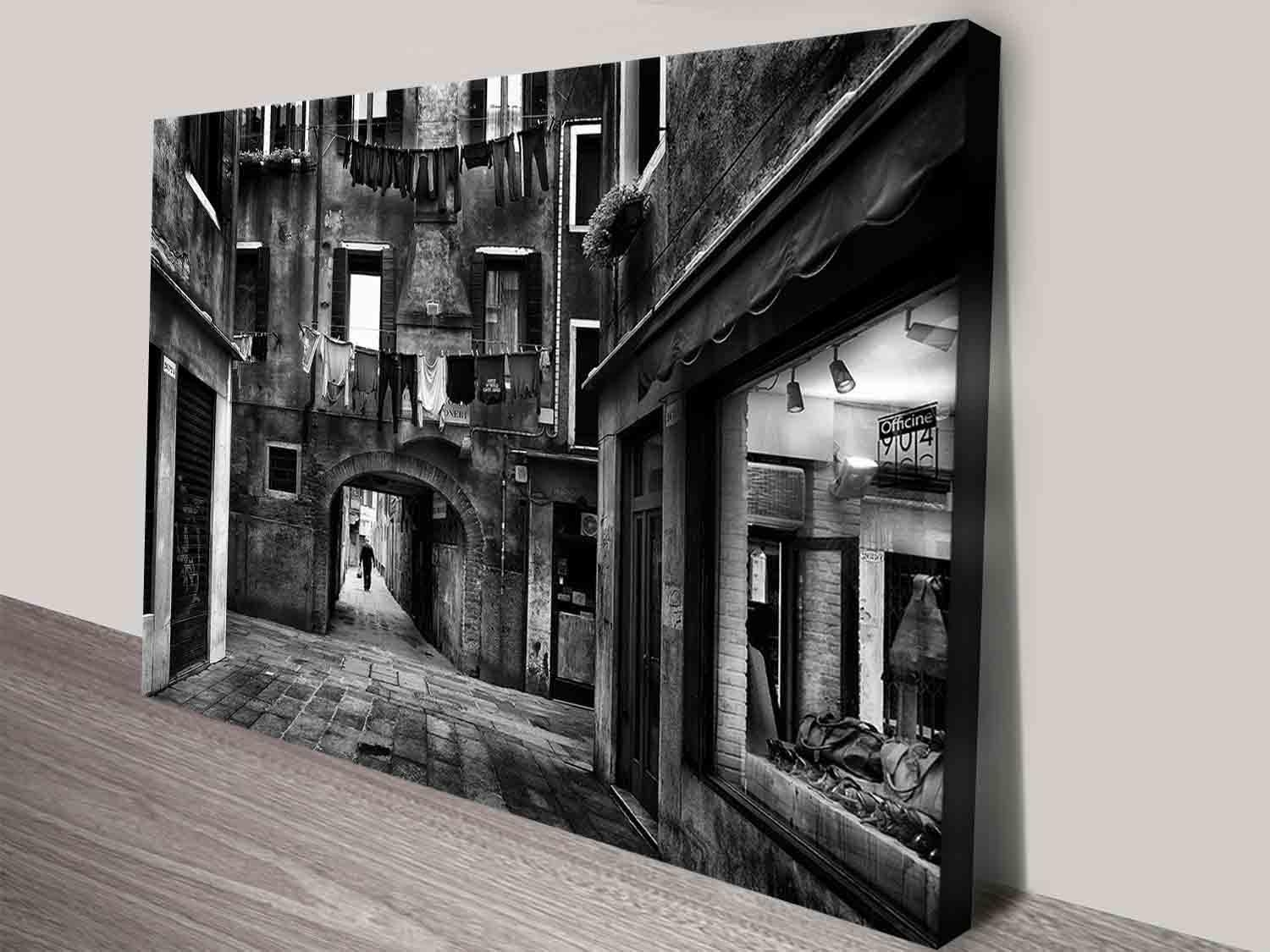 Streets Black And White Travel Decorative Canvas Wall Art Print For Black And White Italian Wall Art (View 9 of 20)