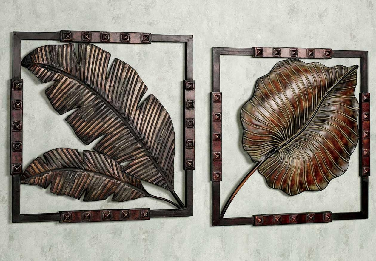 Stunning Metal Art Wall Decor With Tropical Leaf Ideas | Home Throughout Metal Art For Walls (Image 11 of 20)