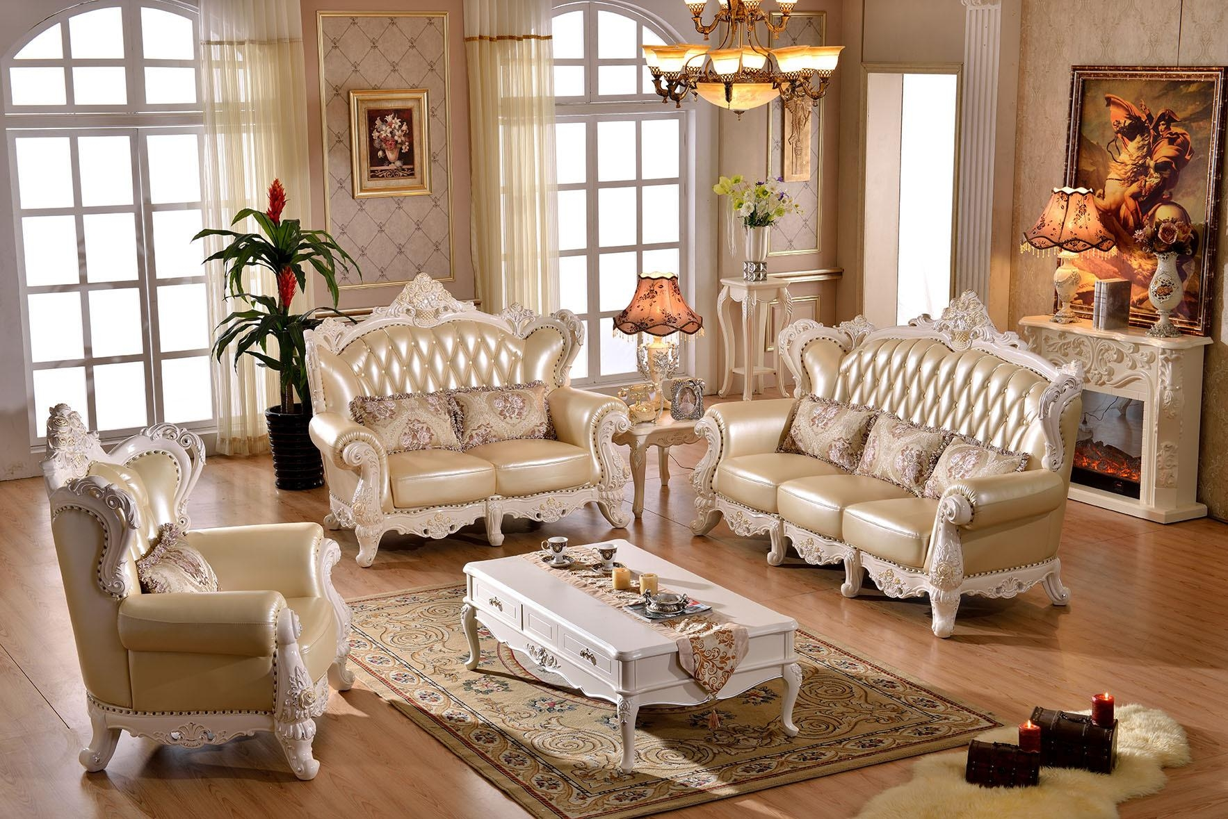 Style Sofa Large Living Room Leather Sofa Combination Solid Wood Throughout European Leather Sofas (Image 17 of 21)