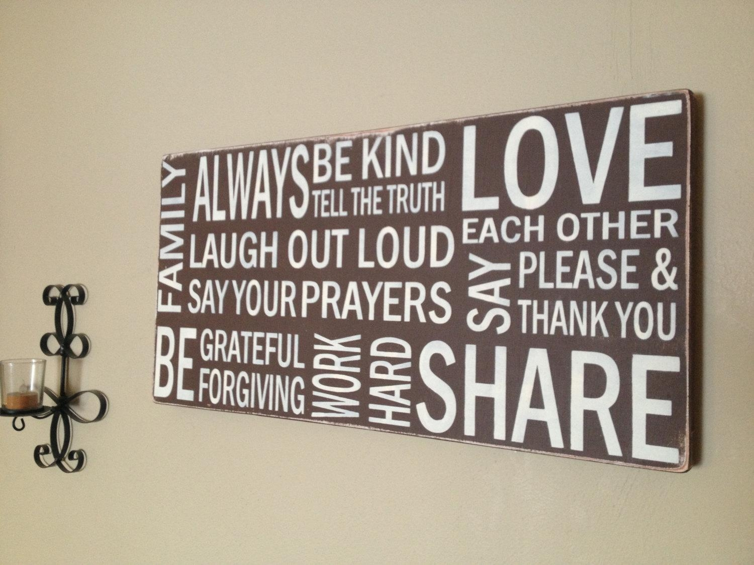 Subway Wood Canvas Sign Hand Painted Family Rules Throughout Family Rules Canvas Wall Art (View 10 of 20)