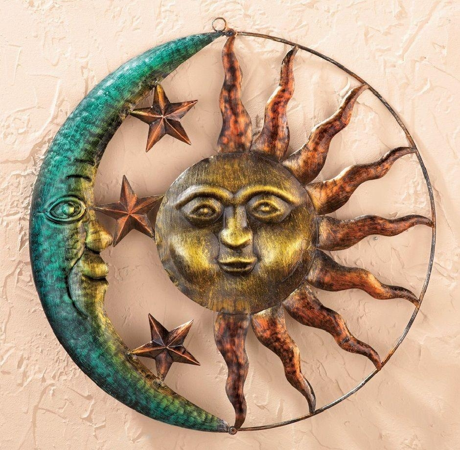 Sun Moon Stars Metal Wall Art Indoor Outdoor Rustic Hanging Pertaining To Sun And Moon Metal Wall Art (View 11 of 20)