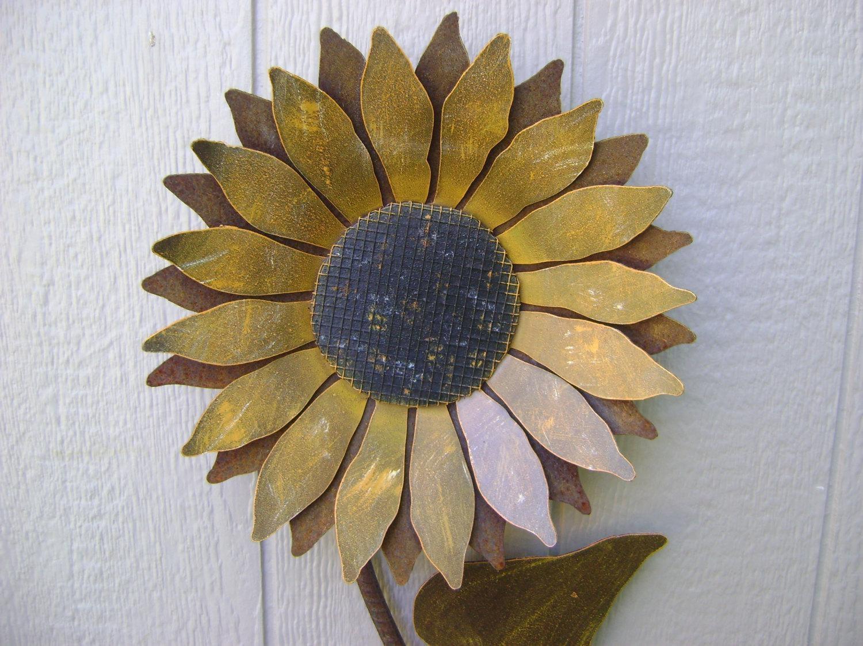 Sunflower Metal Garden Art Sunflower Wall Art Rusty Metal Pertaining To Metal Sunflower Wall Art (View 2 of 20)
