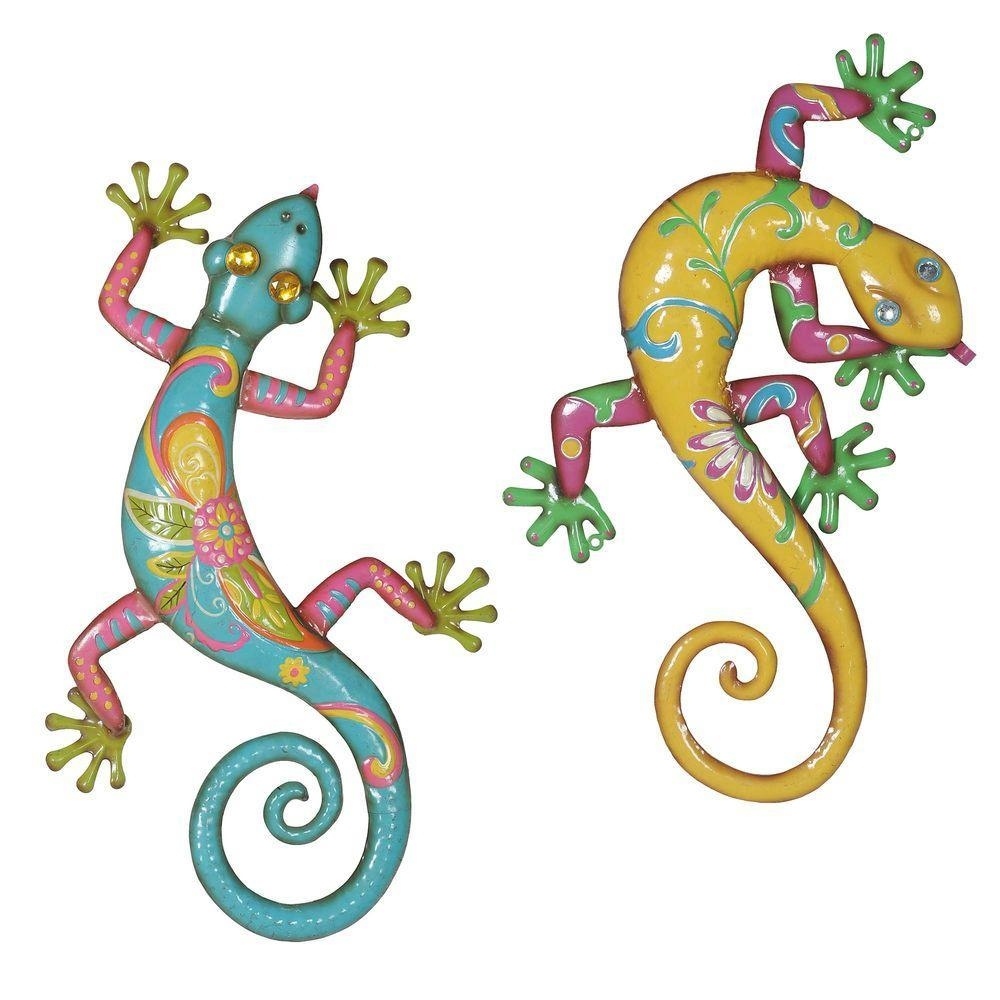 Sunjoy Gecko Iron Outdoor Wall Art (Set Of 2) 110311004 – The Home Inside Gecko Outdoor Wall Art (View 3 of 20)