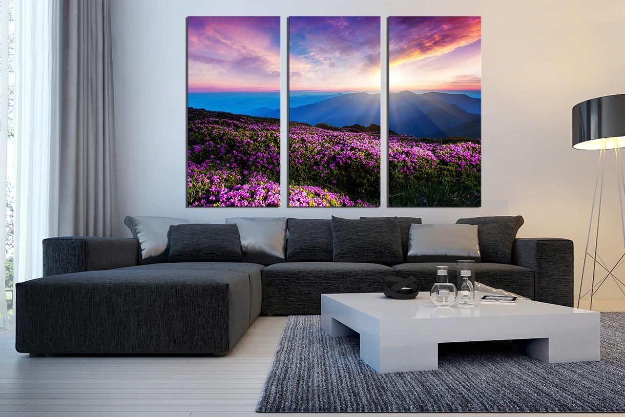 Superb Large 3 Piece Framed Wall Art Canvas Prints Flower Canvas 3 Regarding Multi Piece Canvas Wall Art (Image 15 of 20)