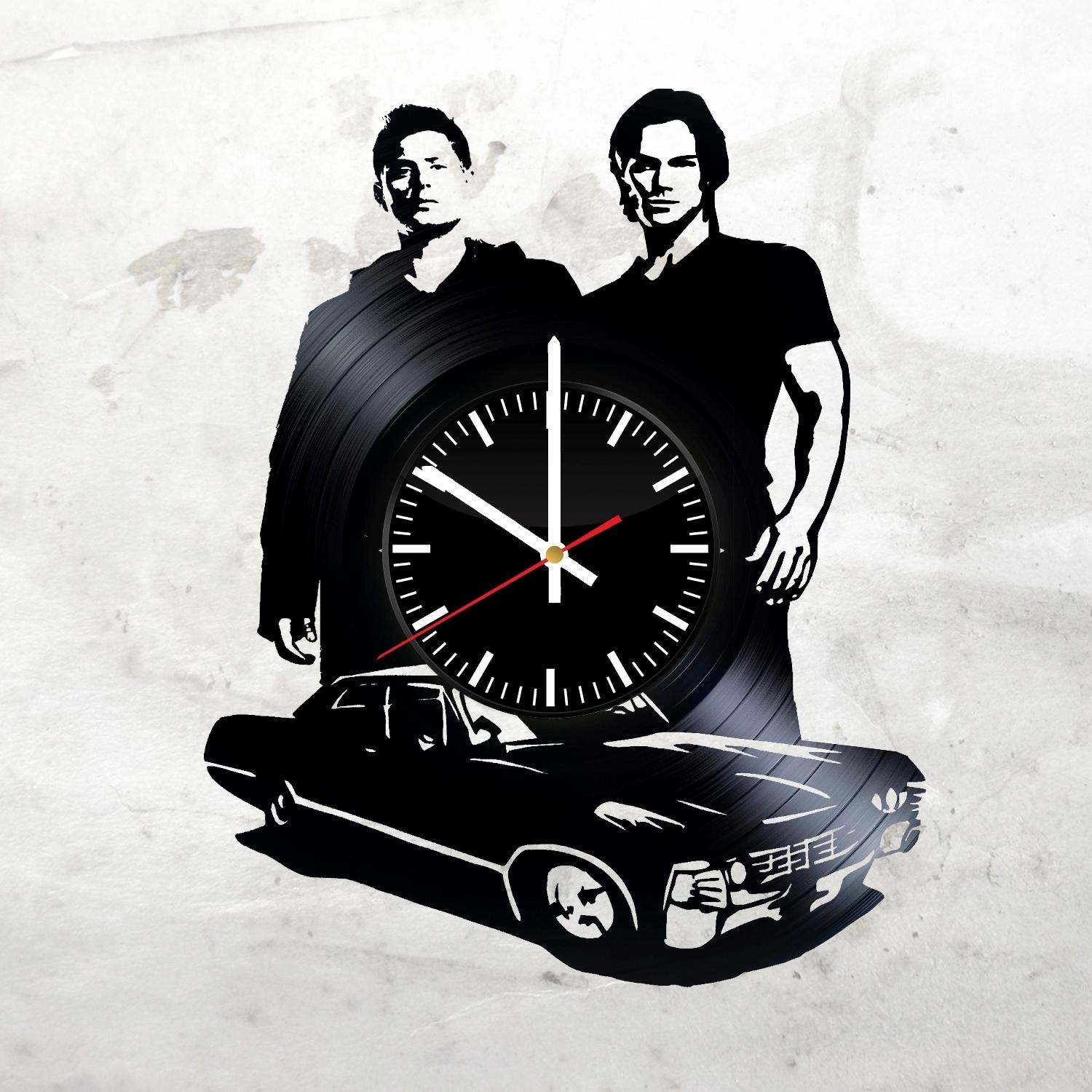 Supernatural Darkness Handmade Vinyl Record Wall Clock Fan Gift For Supernatural Wall Art (View 12 of 20)