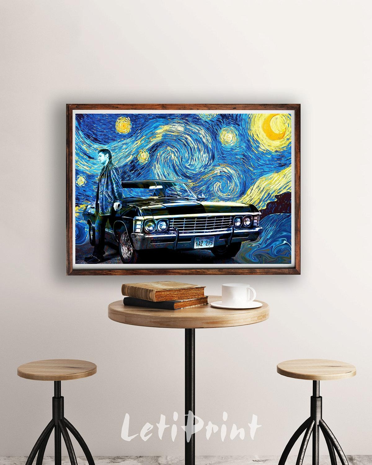 Supernatural Print Starry Night Print Supernatural Poster Regarding Supernatural Wall Art (Image 19 of 20)
