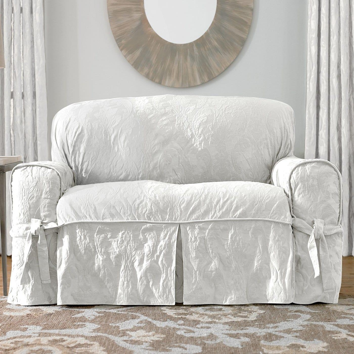 Sure Fit Slipcovers Matelassé Damask 1 Piece Sofa Slipcover | The Mine Regarding 2 Piece Sofa Covers (View 24 of 27)