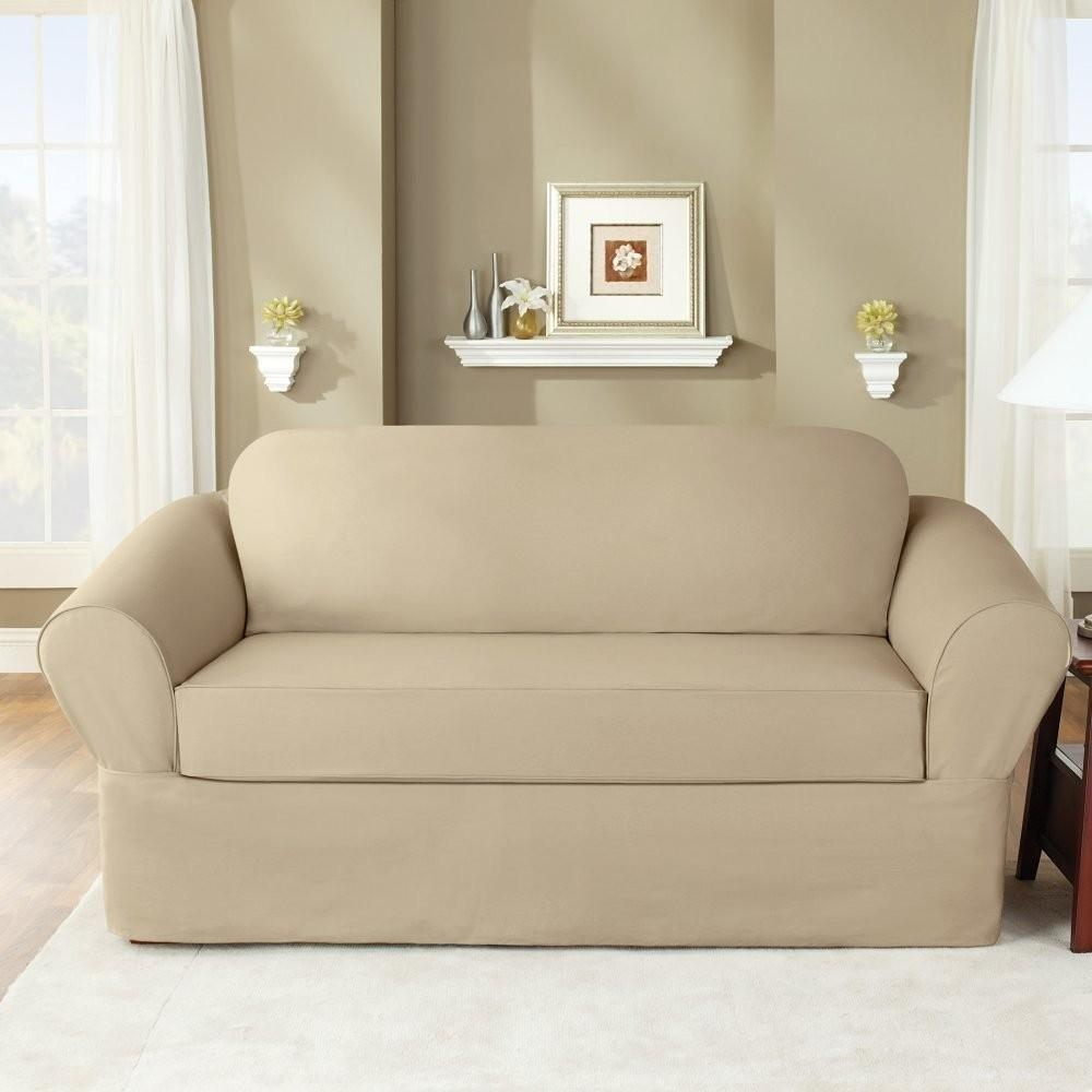 Sure Fit Slipcovers Twill Supreme 2 Piece Sofa Slipcover Flax With Regard To 2 Piece Sofa Covers (View 4 of 27)