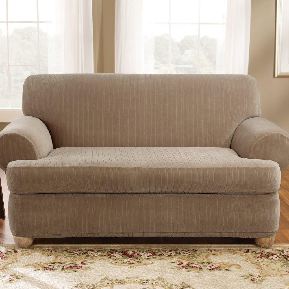 Sure Fit Stretch Pinstripe 2 Piece T Cushion Sofa Slipcover Taupe With Regard To 2 Piece Sofa Covers (View 8 of 27)