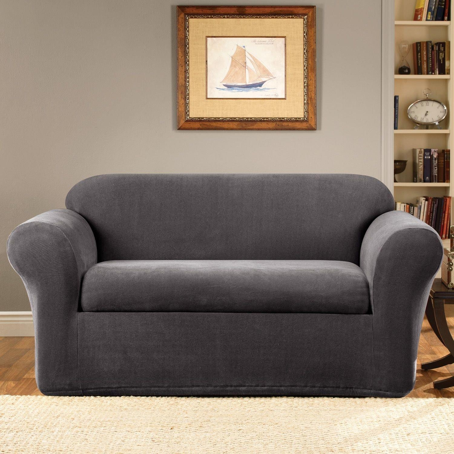 Sure Fit Stretch Suede 2 Piece Sofa Slipcover Chocolate In 2 Piece Sofa Covers (Image 24 of 27)