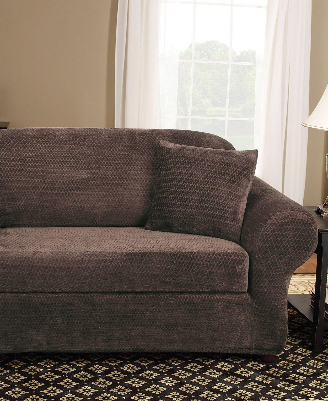 Sure Fit Stretch Suede 2 Piece Sofa Slipcover Chocolate Throughout 2 Piece Sofa Covers (Image 25 of 27)