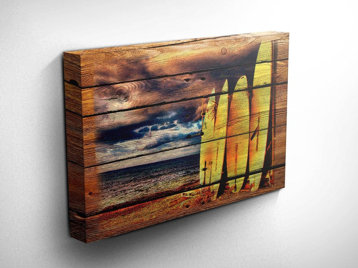 Surf Art/surf Decor Wood Style Canvas Art Surfboard Wall In Surf Board Wall Art (Image 13 of 20)