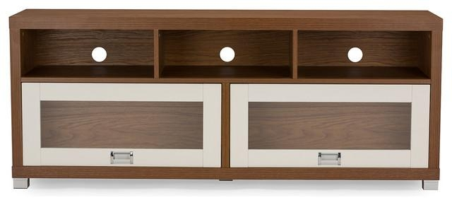 Swindon Modern 2 Tone Walnut And White Tv Stand With Glass Doors For Most Up To Date Wood Tv Stand With Glass (Image 18 of 20)