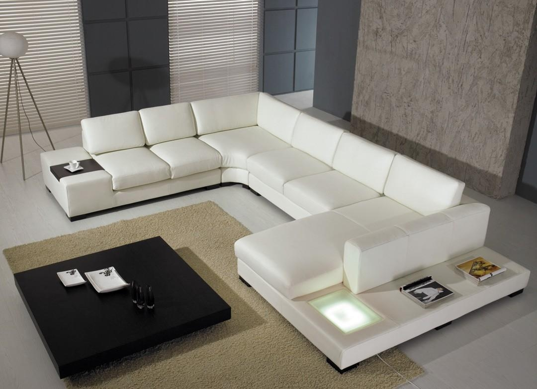 T 35 Modern Leather Sectional Sofa For Sofas With Lights (View 5 of 21)