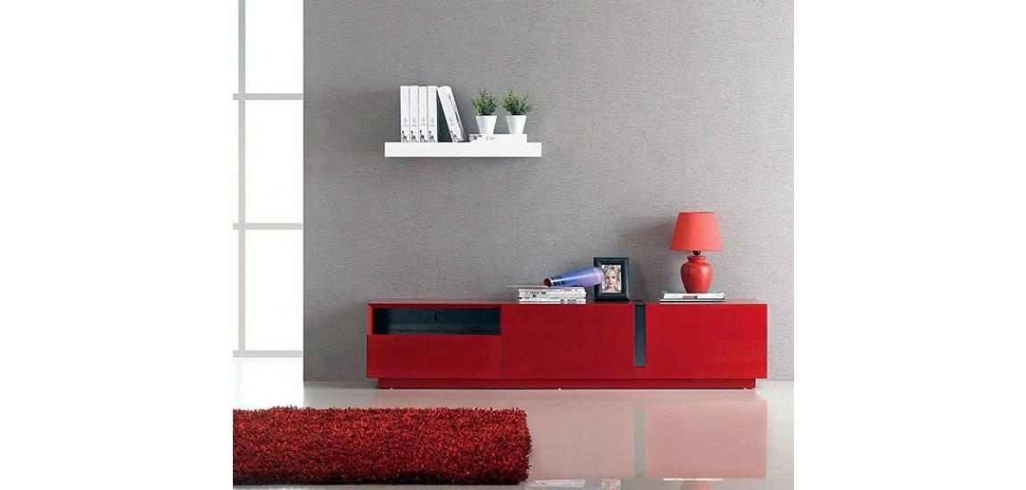 T027 Contemporary Long Tv Stand In Red Gloss Finish With Regard To Best And Newest Red Tv Units (Image 18 of 20)