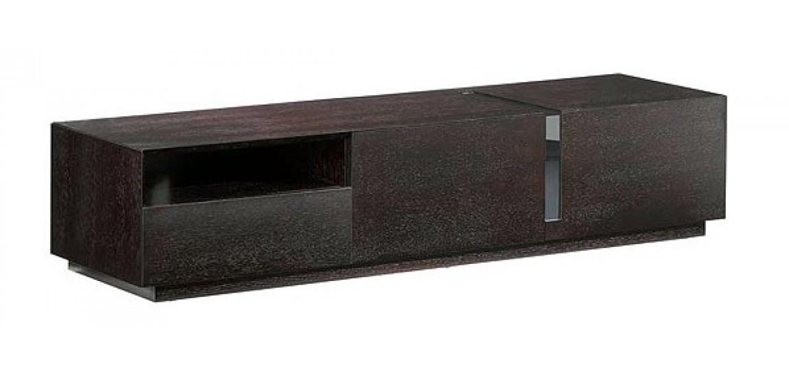 T027 Dark Oak Long Contemporary Tv Stand Inside Most Up To Date Long Black Tv Stands (Image 17 of 20)