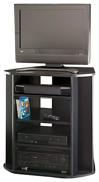 Tall Corner Tv Stand, Black Finish – Entertainment Centers And Tv In Recent Black Corner Tv Cabinets (Image 17 of 20)