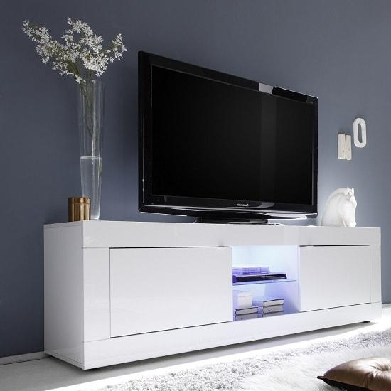Taylor Tv Stand Large In White High Gloss With 2 Doors And Intended For Latest Corner Tv Unit White Gloss (View 16 of 20)