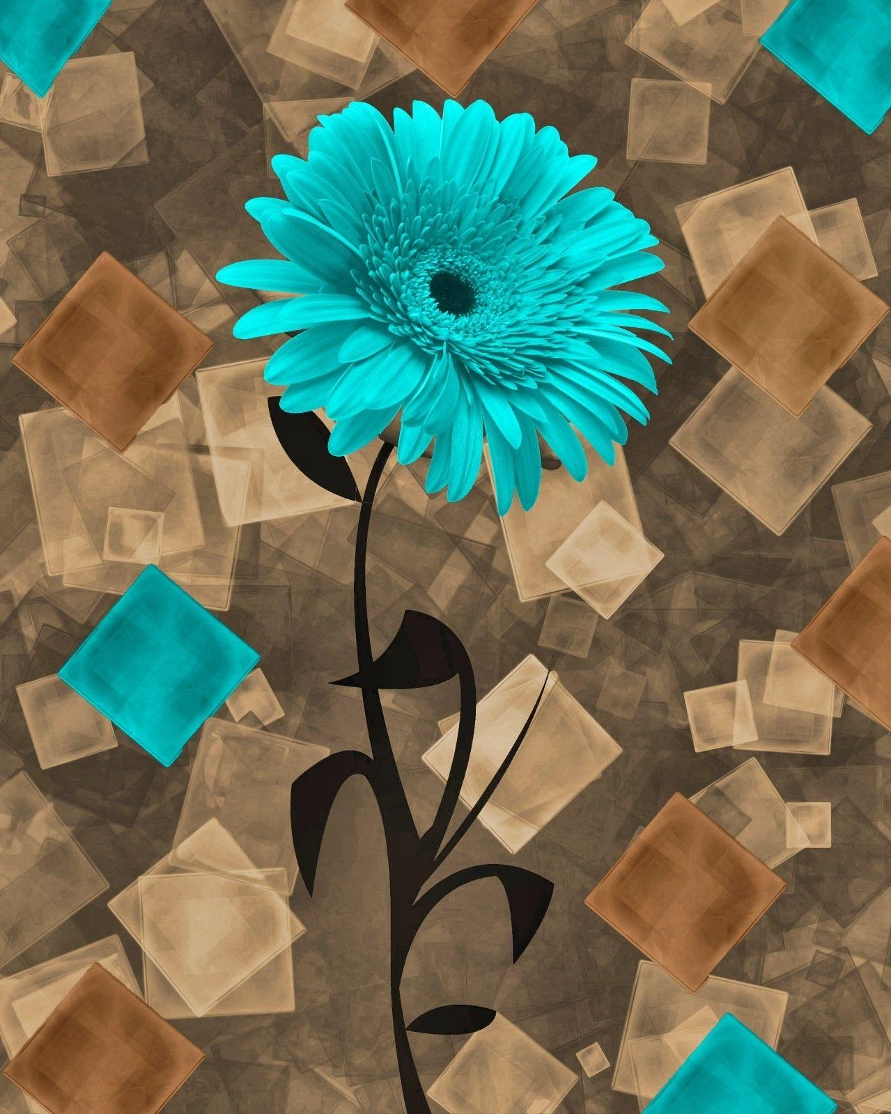 Teal Brown Daisy Flower Modern Bathroom Bedroom Home Decor Wall With Teal And Brown Wall Art (Image 13 of 20)