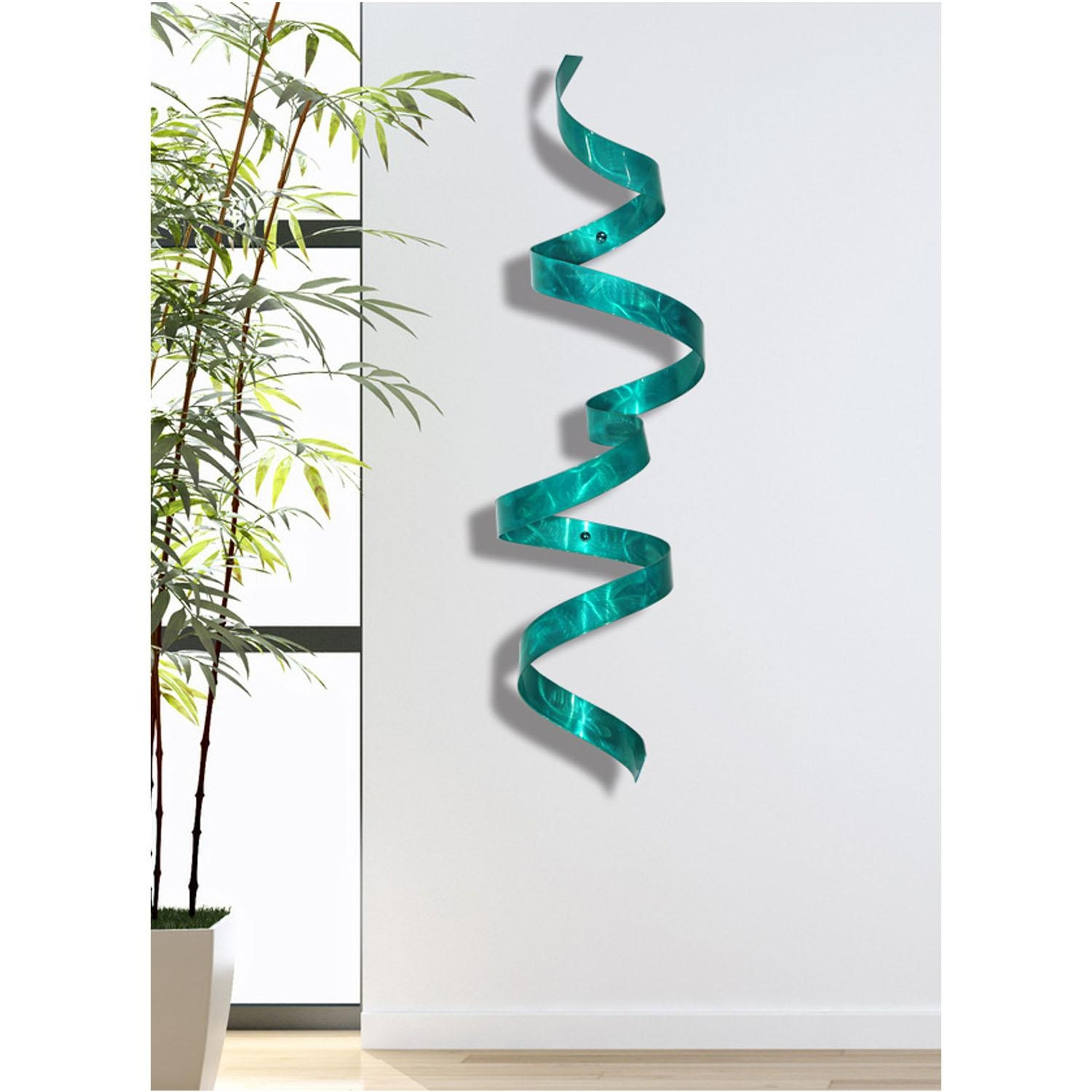 Teal Wall Twist – Blue 3D Abstract Twist Metal Wall Art Sculpture In Teal Metal Wall Art (View 1 of 20)