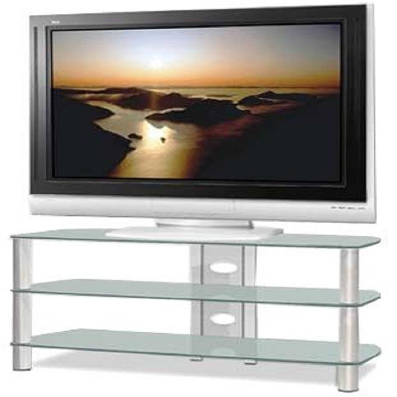 Tech Craft Sorrento Series Silver And Black Glass Tv Stand For 32 With Regard To Most Recently Released Silver Tv Stands (Image 14 of 20)