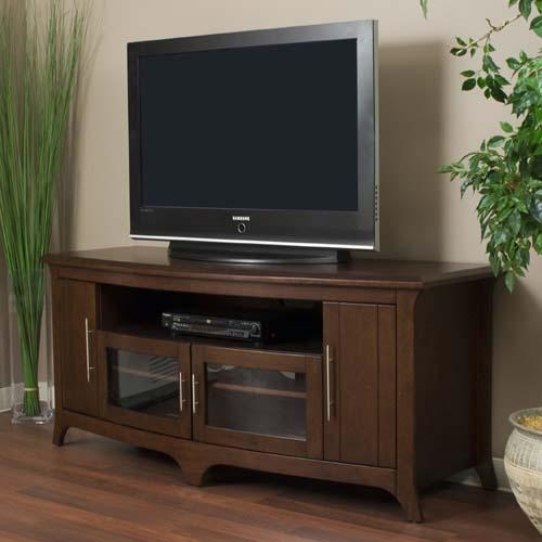 Tech Craft Veneto Series Walnut Wood Tv Stand For 48 60 Inch With Most Up To Date Wooden Tv Stands For Flat Screens (Image 12 of 20)