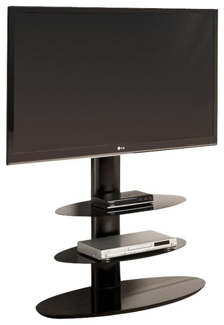 Tech Link Strata Three, Shelf Pedestal Tv Stand In Black Intended For Most Recently Released Techlink Tv Stands (Image 9 of 20)