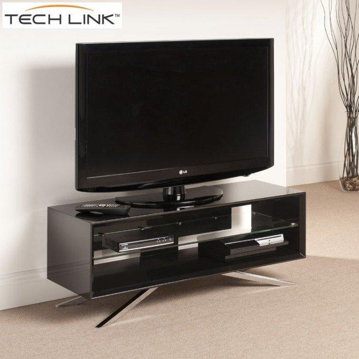 Techlink Aa110B Arena Piano Gloss Black Tv Stand (406091) Within 2018 Techlink Arena Tv Stands (Image 9 of 20)