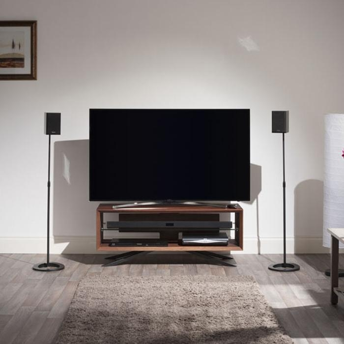 Techlink Aa110W Arena Walnut With Clear Glass Tv Stand – Gerald Giles Within 2018 Techlink Arena Tv Stands (View 18 of 20)