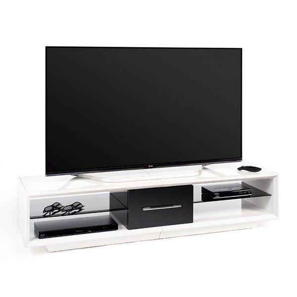 Techlink Aa150Wtb Arena 150 White And Piano Gloss Black Tv Stand In Most Recently Released Shiny Black Tv Stands (Image 14 of 20)