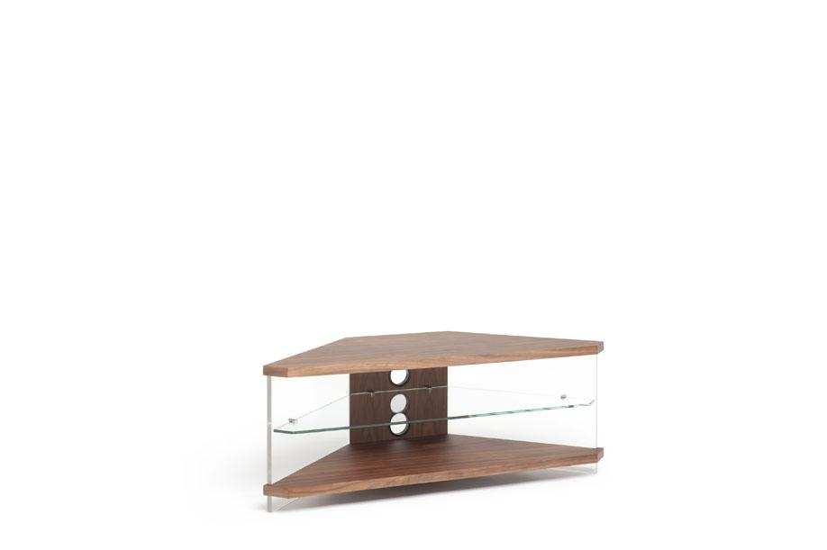 Techlink Air Corner Tv Stand In Walnut With Clear Glass Regarding Newest Techlink Corner Tv Stands (Image 4 of 20)