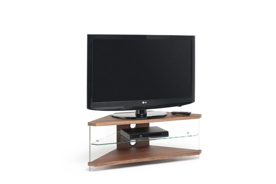 Techlink Air Corner Tv Stand In Walnut With Clear Glass Within Most Recent Techlink Corner Tv Stands (Image 5 of 20)
