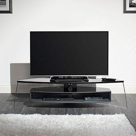 "Techlink Air Curve Ac150Bsg Tv Stand Up To 70"" Tvs In Gloss Black In Latest Techlink Tv Stands Sale (Image 16 of 20)"