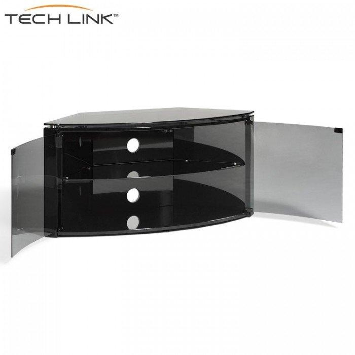Techlink B6B Bench Piano Gloss Black With Smoked Glass Corner Tv In Most Up To Date Smoked Glass Tv Stands (Image 13 of 20)