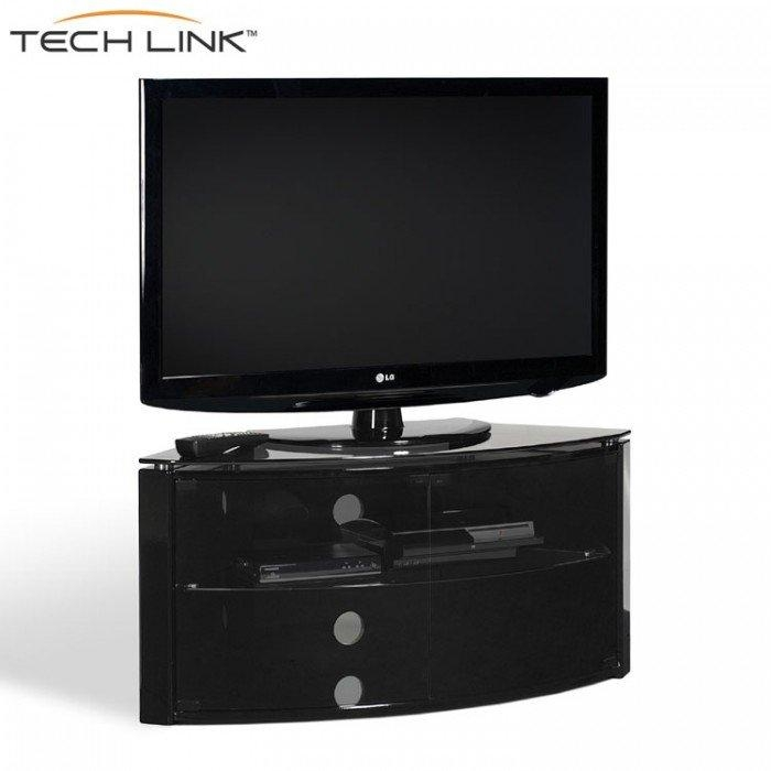 Techlink B6B Bench Piano Gloss Black With Smoked Glass Corner Tv Inside Most Popular Black Gloss Corner Tv Stand (Image 16 of 20)
