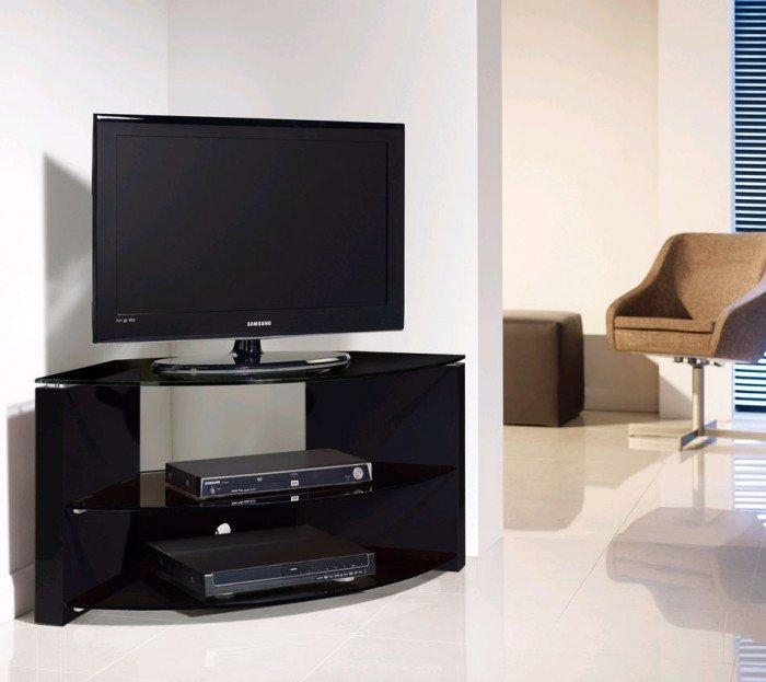 Techlink Bench B3B Piano Gloss Black With Smoked Glass Corner Tv In Most Up To Date Black Gloss Corner Tv Stand (View 11 of 20)