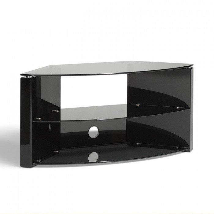 Techlink Bench B3B Piano Gloss Black With Smoked Glass Corner Tv pertaining to Most Popular Black Gloss Corner Tv Stand