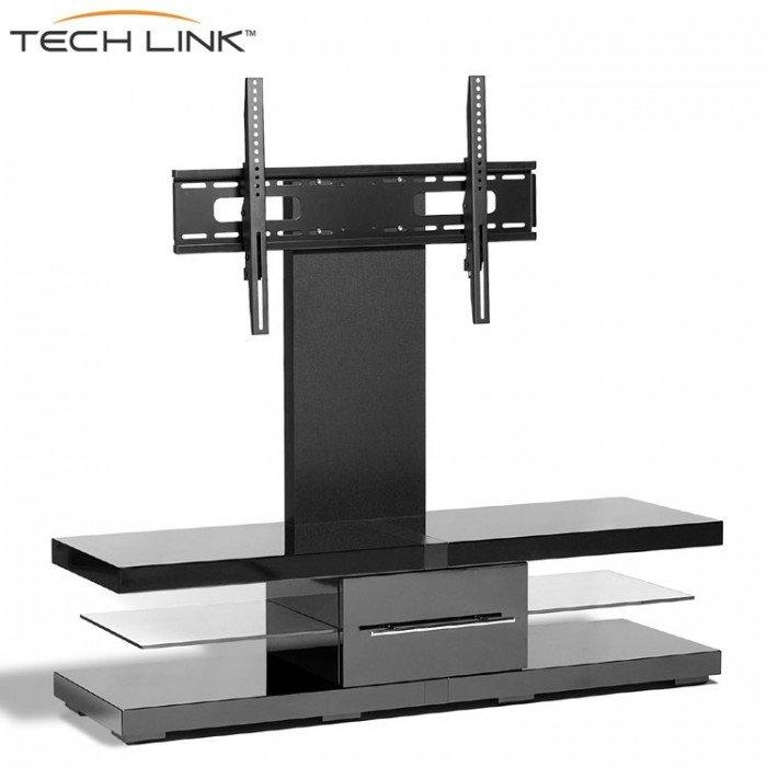 Techlink Ec130Tvb Echo Tv Piano Gloss Black Cantilever Tv Stand Throughout Latest Cantilever Tv (Image 14 of 20)