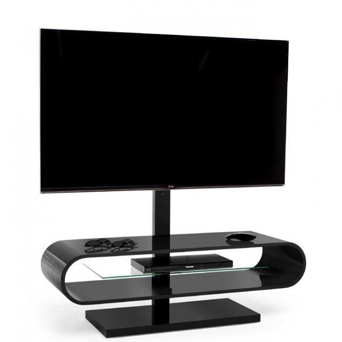 Techlink Ovid Ov120Tvb Gloss Black Cantilever Tv Stand (406037) Within Most Recent Techlink Tv Stands (Image 13 of 20)