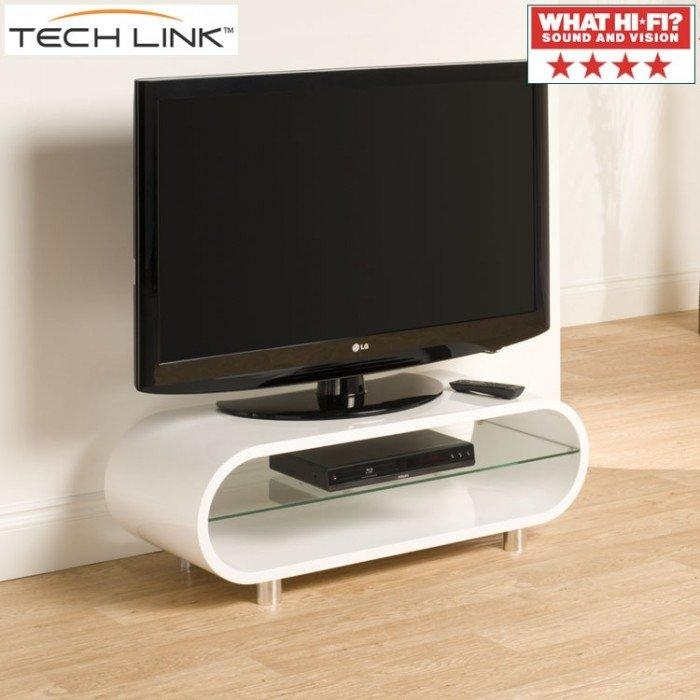 Techlink Ovid Ov95W Gloss White Tv Stand (406011) Inside Most Current Ovid White Tv Stand (View 4 of 20)