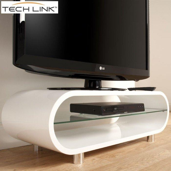 Techlink Ovid Ov95W Gloss White Tv Stand (406011) Regarding Recent White Tv Stands (View 6 of 20)
