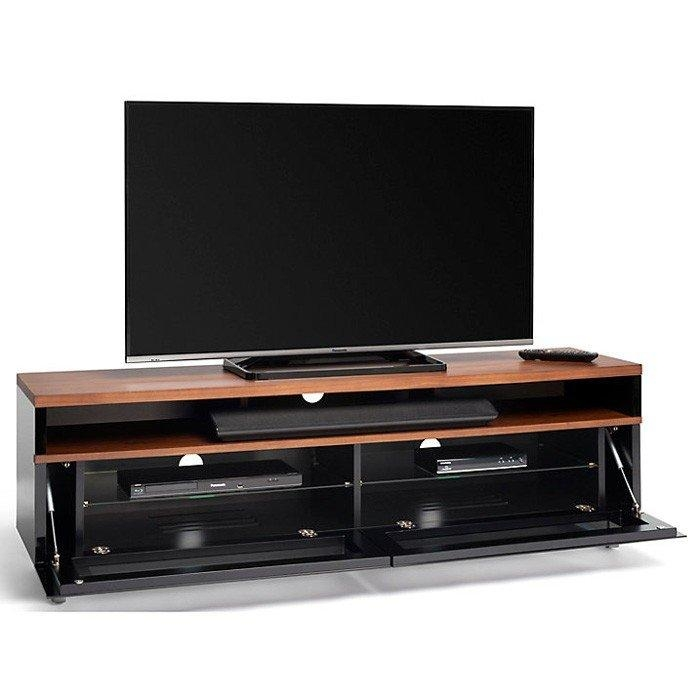 Techlink Panorama Pm160+ Piano Gloss Black And Walnut Large Tv For Most Current Techlink Panorama Walnut Tv Stand (View 6 of 20)